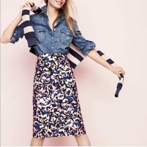J Crew hibiscus a-line skirt
